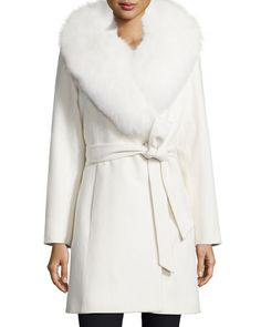 TAHA2 Sofia Cashmere Fur-Collar Belted Wrap Coat
