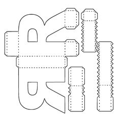 Letras Png ,svg ,pdf ,silhouette no Alphabet Graff, Alphabet 3d, Alphabet Templates, Cardboard Letters, 3d Letters, Diy Gift Box, Diy Box, Paper Toys, Paper Crafts