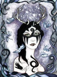 Seasons of the Elk (c) 2014 Trisha Leigh Shufelt https://www.etsy.com/listing/210717283/elk-goddess-faerie-fairy-elk-art-print