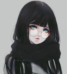 Eir 黑发 少女 齐刘海 眼镜娘