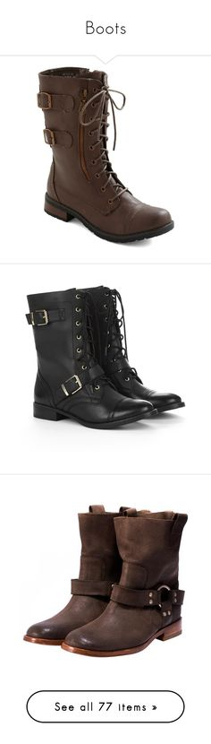 """""""Boots"""" by changeofyou ❤ liked on Polyvore featuring shoes, boots, botas, modcloth, brown, military combat boots, brown boots, brown military boots, brown buckle boots and side zipper boots"""