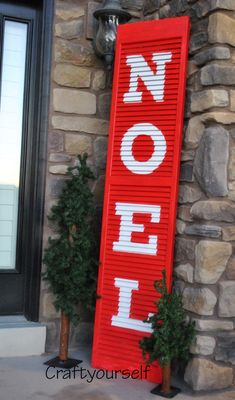 Noel Christmas Shutter - All About Decoration Christmas Porch, Christmas Signs, Outdoor Christmas, All Things Christmas, Christmas Holidays, Christmas Fashion, Woodland Christmas, Winter Holiday, Christmas Projects