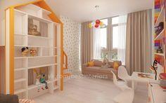 Домик для игр и стеллаж для игрушек в яркой детской.... фото #1