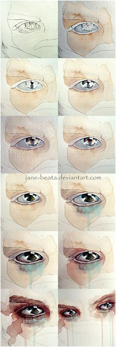 Watercolor eye tutorial, one eye closeup by jane-beata.deviantart.com