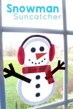 Suncatcher Snowman Craft for Kids