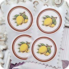 NEW  Vintage Lemon Stickers / Seals  1.5 by LittlePaperFarmhouse