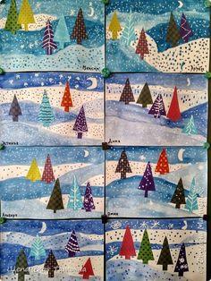 Christmas Art Projects, Winter Art Projects, Winter Crafts For Kids, Art For Kids, Christmas Crafts, Kindergarten Art, Preschool Crafts, Theme Noel, Art Lessons Elementary