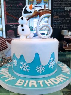Frozen Themed Birthday Cake with Olaf!!