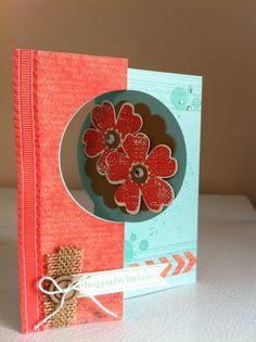 Stampin up thinlits circle card with flower shop stamp, gorgeous grunge & itty bitty banners, this & that epic day DSP.