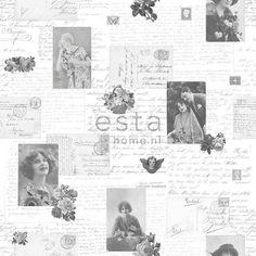 033. Esta Home Franse kaarten/brieven behang grijs/zwart/wit 138128