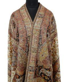 """Ibaexports Large Beige Jamawar Kani Shawl Kashmir Lady Scarf Stole Wrap India 80"""" X 40"""" Inches; IBA. $144.99"""