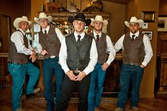 Cowboy wedding attire - Groom and Groomsmen. Photography by Verdi