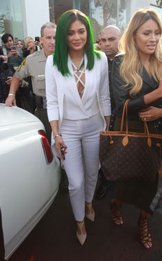 Click through Kylie Jenner's best street style moments | White Suite with Green Dyed Hair