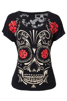 Jawbreaker Day Of The Dead Sugar Skull Fashion Top - T-Shirts | RebelsMarket