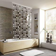 Kleine Wolke Vinyl Grey Squares Shower Roller Blind Online Now Glass Shower Doors Shower Doors Shower Door Designs
