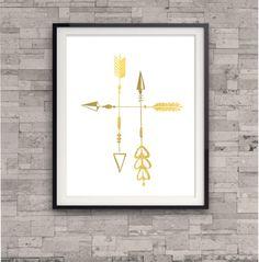 GOLD FOIL ART Gold Art Print Arrow Print Shiny by TheDigitalStudio, $10.00
