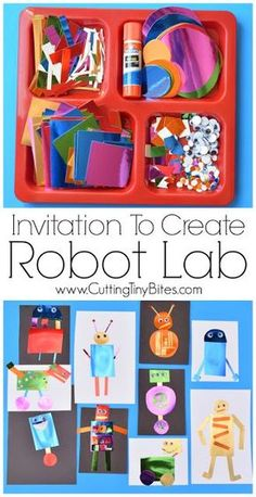 Invitation To Create Robot Lab Open ended creative paper craft for kids Great for teaching color and shape recognition fine motor development Perfect for preschoolers ki. Toddler Crafts, Toddler Activities, Preschool Activities, Daycare Crafts, Art Center Preschool, Robot Theme, Paper Crafts For Kids, Arts And Crafts, Easy Crafts