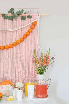 Simple Brunch Backdrop - A Beautiful Mess Orange Party, Party Kulissen, Party Time, Party Ideas, Brunch Party, Birthday Table, Birthday Parties, Baby Birthday, A Little Party