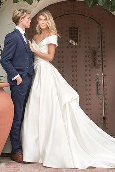 Jasmine - F211054 | Suzanne's Bridal Boutique Wedding Dress Brands, Elegant Wedding Gowns, Couture Wedding Gowns, White Wedding Dresses, Bridal Dresses, Bridesmaid Dresses, Jasmine Bridal, Wedding Dress Necklines, Bridal And Formal