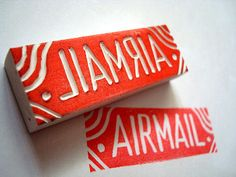 airmail hand carved stamp