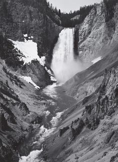 1942 Yellowstone National Park, Yellowstone Fall [fall, converging canyon slopes and river; patch of snow on slope at left; curve of sky visible above fall] by Ansel Adams Ansel Adams Photography, Face Photography, Black And White Landscape, Black White Art, Great Photographers, Landscape Photographers, Yellowstone National Park, National Parks, Tokyo Museum