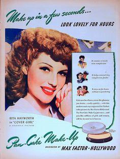 Max Factor Cosmetics featuring Rita Hayworth, 1943