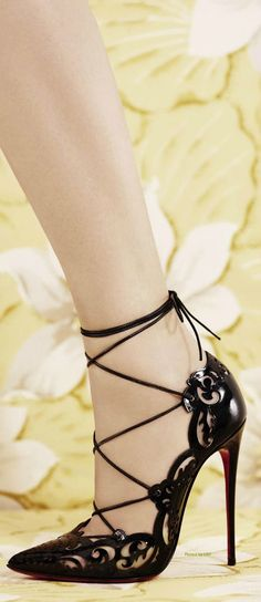 Christian Louboutin Black Lace-Up Sandal Spring 2014 #CL #Louboutins #Shoes