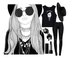 """We're Dressed in Black From Head to Toe"" by katielynnr ❤ liked on Polyvore featuring J Brand, Valfré, VIVETTA and Kat Von D"