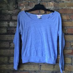 VS PINK periwinkle boat neck tri blend tee In used condition, very soft, piling from the dryer. Don't purchase unless you see the piling in the pictures and you're okay with it. PINK Victoria's Secret Tops Tees - Long Sleeve