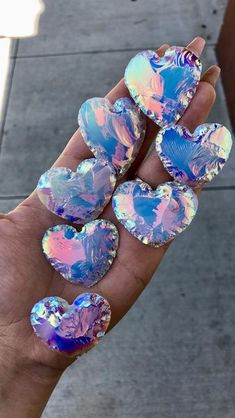 Hand carved Opalite hearts coated with angel aura. Minerals And Gemstones, Rocks And Minerals, Crystal Magic, Crystal Healing, Crystal Cluster, Crystal Aesthetic, Cool Rocks, Rocks And Gems, Healing Stones