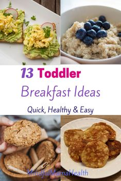 Quick and easy toddler breakfast ideas picky toddlers will love. Breakfasts for toddlers that you can make ahead or quickly make in the morning. Balanced Breakfast, Breakfast Options, Perfect Breakfast, Healthy Toddler Breakfast, Breakfast Snacks, Healthy Kids, Breakfast Recipes, Healthy Eating, Baby Food Recipes