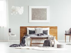 Buy Grey modern bedroom interior by bialasiewicz on PhotoDune. Grey armchair and rugs next to bed in modern bedroom interior with box and silver painting Graphic Design Layouts, Layout Design, Grey Armchair, Interior Photo, Modern Bedroom, Girls Bedroom, The Hamptons, Furniture, Photographs