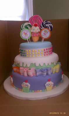 Candy Shoppe 1st Birthday Cake.  This cake was inspired by the Wilton Candy Shoppe Cake.  All layers are covered in fondant with cut fondant decorations.  The candy buttons around the top layer are real candy buttons on paper.  The ice cream cone topper is marshmallow from fao schweetz.  The swirly lollipops are also real.  The cupcakes were molded with a wilton fondant mold.