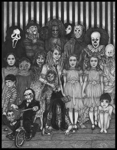 Horror Movies family photo style. Who is the girl holding the chucky doll above the chick from the ring I NEED TO KNOW!?