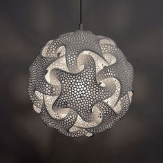 Complex Geometric Lamp Designs Produced with 3D Printing - Artist Bathsheba Grossman. For more than twenty years, she has produced all kinds of complex, mathematical designs that she transforms into tangible objects through the technologically advanced process of 3D printing.