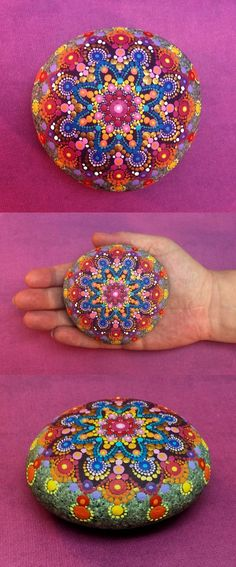 Mandala Stone (Large) by Kimberly Vallee: Hand painted with acrylic and protected with a matt finish, this \