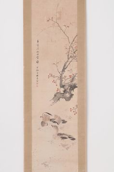 Japanese hanging scroll Swimming duck painting by Keisen Ikeda Antique hs0553