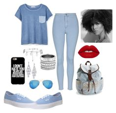 """""""Blue 2"""" by janinelolove on Polyvore featuring Topshop, MANGO, Ray-Ban, Aéropostale, Vans, Henri Bendel, Carolee and Lime Crime"""