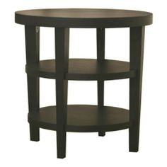 Charleston Modern Wood End Table - Black by Wholesale Interiors. $257.75. Made of durable engineered wood and black oak veneer. 2 shelves provide ample storage and display space. Round, modern end table. Dimensions: 23.75W x 23.75D x 23.75H inches. Some assembly required. Functional yet stylish, the Charleston Modern Wood End Table - Black adds convenient storage without taking up a lot of space. The top surface and two shelves provide handy storage and display space, while the ...