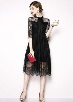 1f82dd3e0 Compre Vestido Midi Renda Clássico Gola Laço Moda Evangélica   UFashionShop Vestido  Festa, Vestido Chique