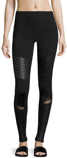 d913533d574b2 Moto High-Waist Sport Leggings by Alo Yoga. Alo Yoga moto-style performance  leggings in mixed matte/shine fabric. Mesh and biker-style trapunto quilted  ...