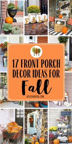 Beautiful Front Porch Ideas for Fall Here are 17 beautiful ways to decorate your front porch for Fall.Here are 17 beautiful ways to decorate your front porch for Fall. Fall Home Decor, Autumn Home, Seasonal Decor, Holiday Decor, Thanksgiving Decorations, Front Porch Fall Decor, Front Porch Decorations, Fall Front Porches, Autumn Porches