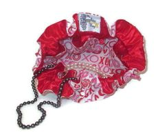 Drawstring Travel Jewelry Pouch / Satchel - Medium - Red and Pink XO with Red Satin