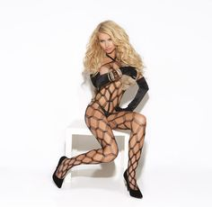 This beautiful diamond net bodystocking is just the way to show off your curves.