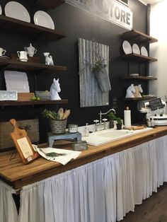 Farm kitchen with chalkboard back, curtain below sink, shelves and tin accent Farmhouse Chic Kitchen, Farmhouse Kitchen Decor, Kitchen Design Small, Kitchen Design Decor, Kitchen Decor, Kitchen Cabinet Styles, Home Decor, Open Kitchen Cabinets, Minimalist Home Furniture
