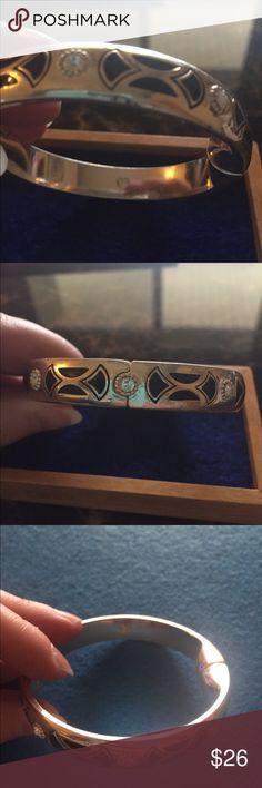 Brighton silver and black bangle. Black with Swarovski crystals.  Magnetic hinged bracelet.  Gently worn.  Smoke free home. Jewelry Bracelets