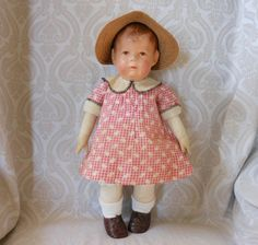 Kathe Kruse German Cloth Doll I with Wide Hips - Replaced Dress
