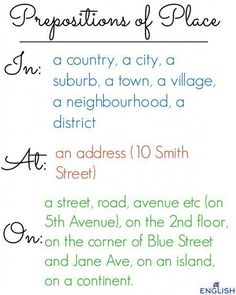 ПРЕДЛОГИ AT, IN, ON (Prepositions of place and direction at, in, on)  AT