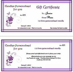 Candles Personalised For You Gift Certificate