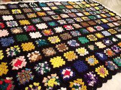 Vtg Black Multi Variegated Colors AFGHAN GRANNY SQUARES CROCHETED BOHO 48x70 #Handmade